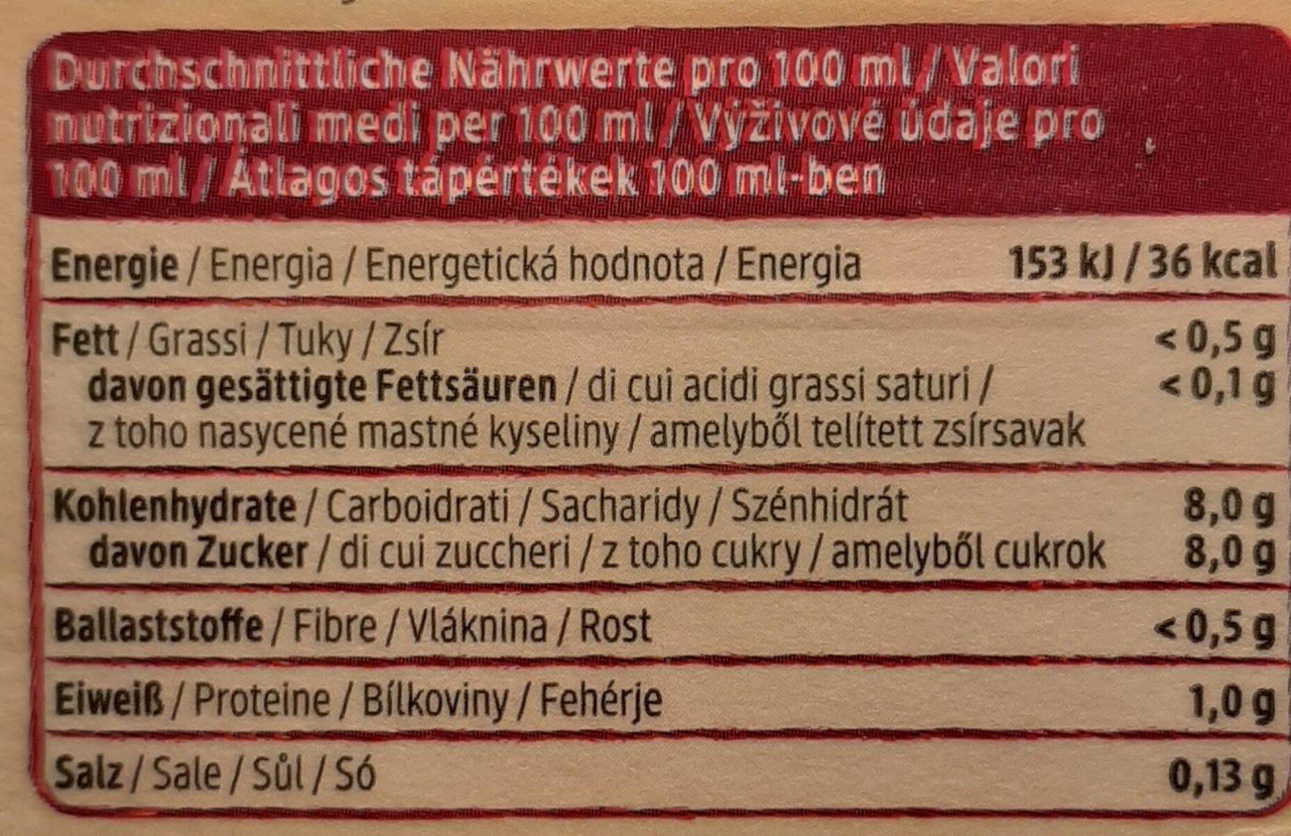 Rote Beete Saft - Nutrition facts - de