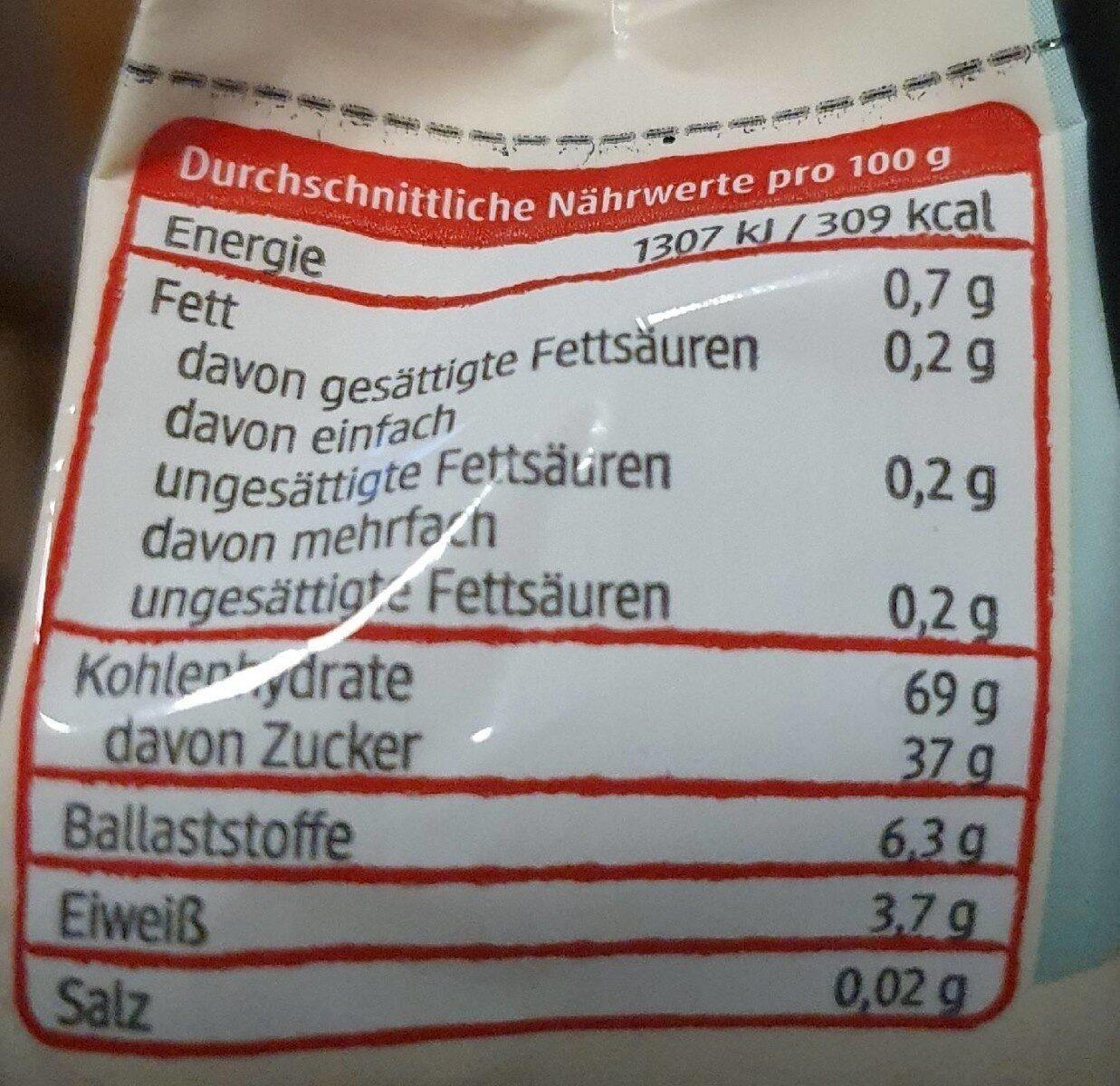 Sauerkirschen entsteint - Voedingswaarden - de