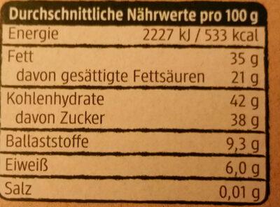 Kirschen in Zartbitterschokolade - Valori nutrizionali - de