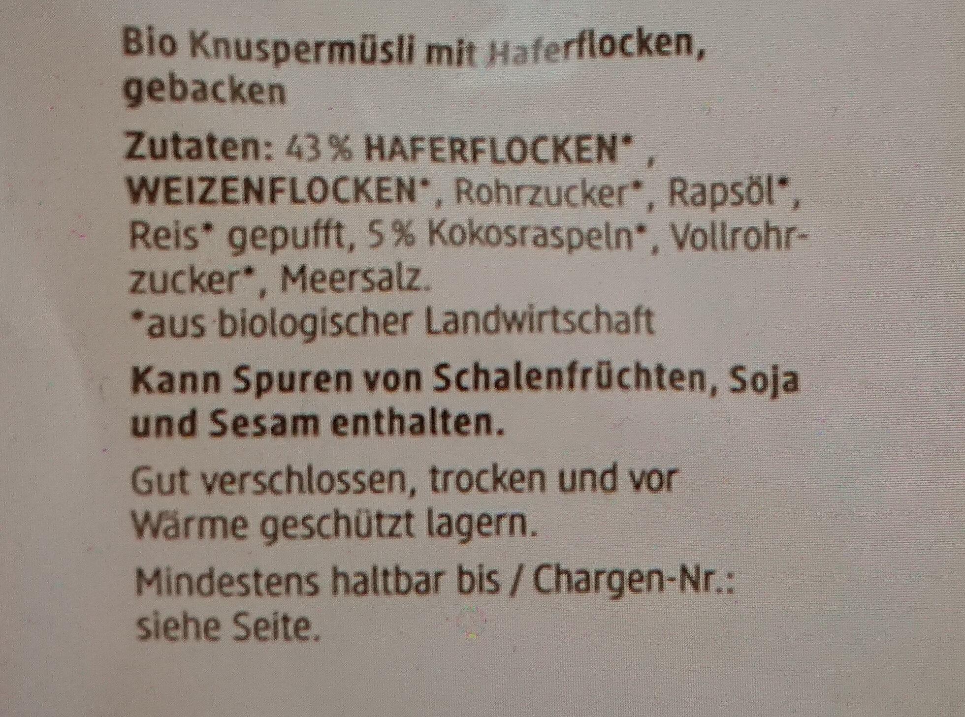 Hafer Crunchy - Ingredienti - de