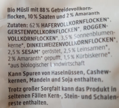 Basis müsli - Inhaltsstoffe - de