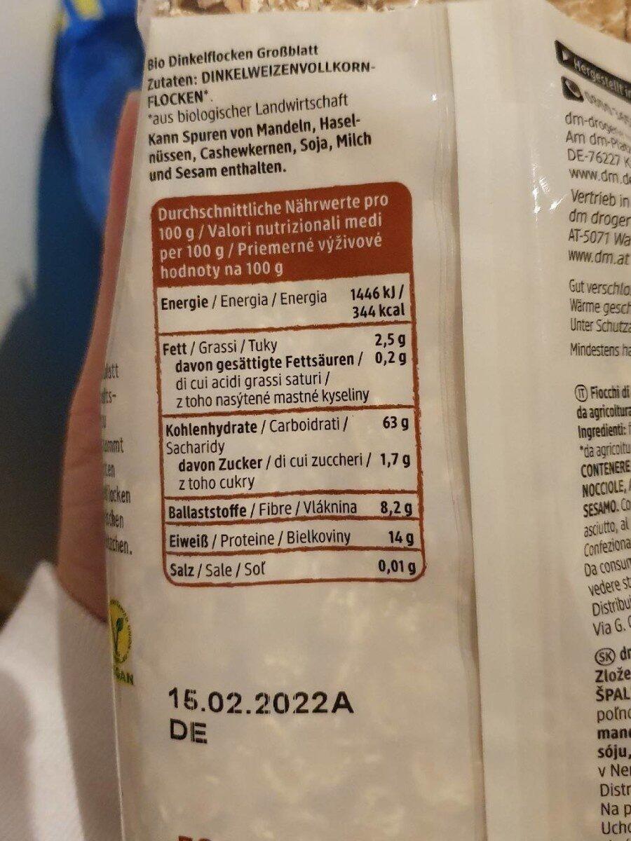 Dinkel Flocken Großblatt - Informations nutritionnelles - de
