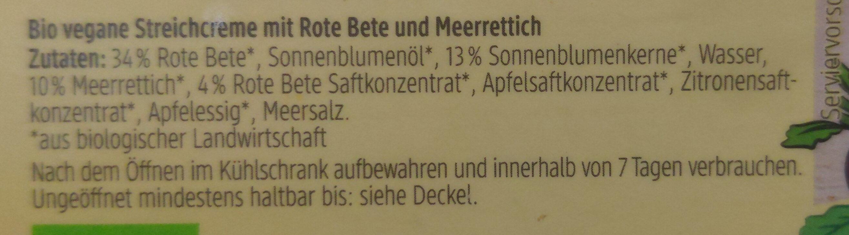 Streichcreme Rote Bete Merrettich - Ingredienti - de