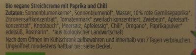 Streichcreme Paprika-Chili - Ingrédients - de