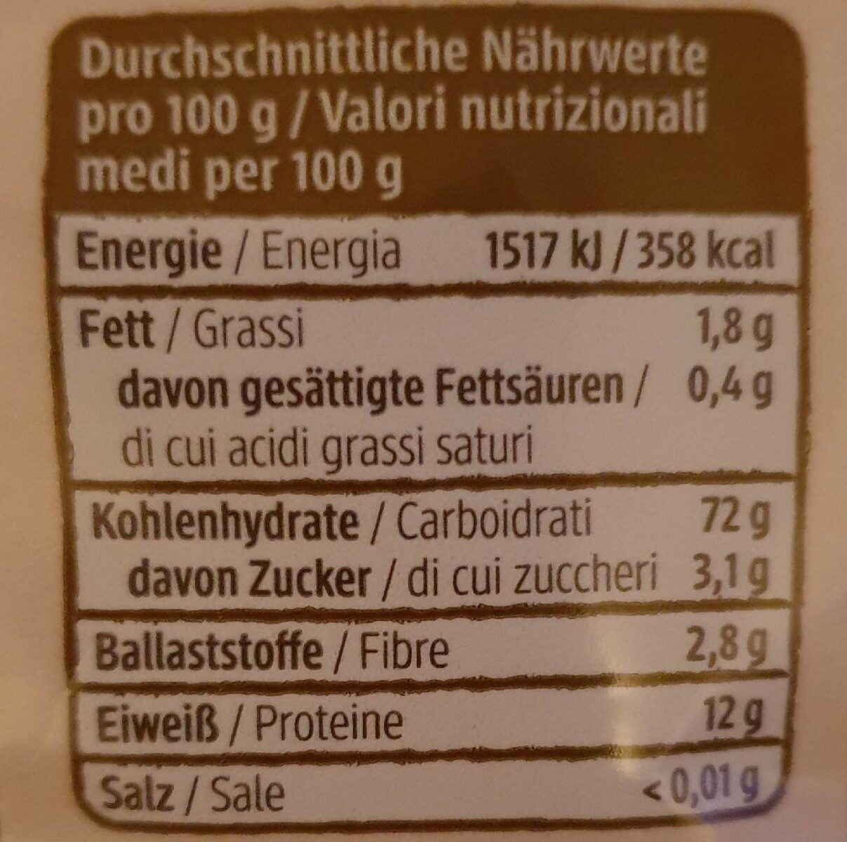 Dinkel Penne - Nutrition facts - en