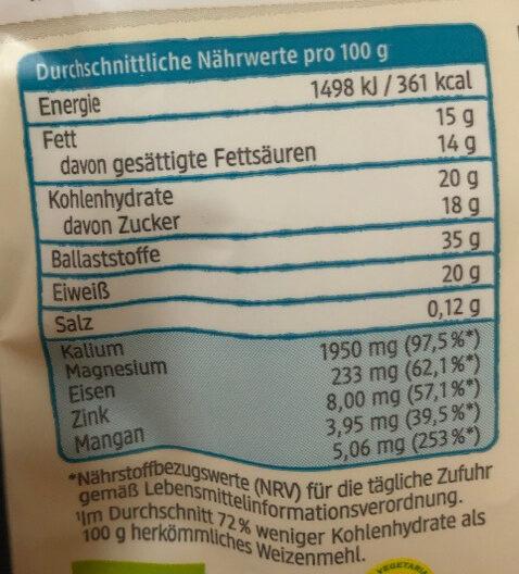 Kokosmehl - Informations nutritionnelles - de