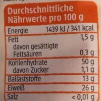 Rote Linsen - Valori nutrizionali - de