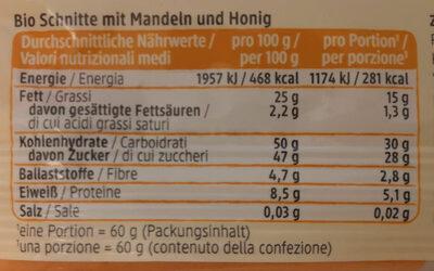DmBio Mandel Honig Schnitte - Nährwertangaben - de