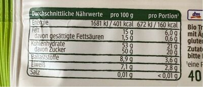 Fruchtriegel - Nutrition facts - de