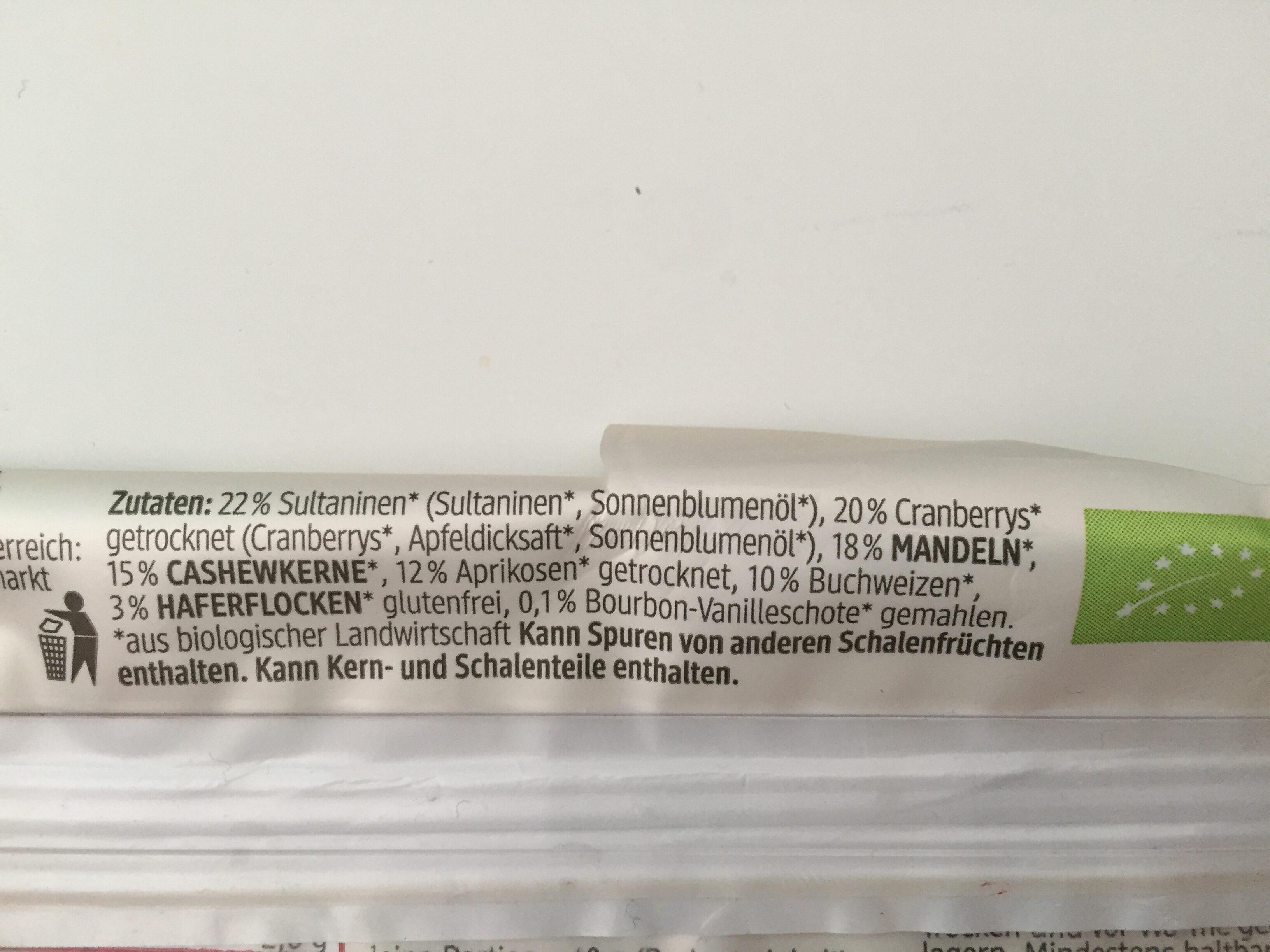 Cranberry + Buchweizen Fruchtriegel - Ingrédients - de