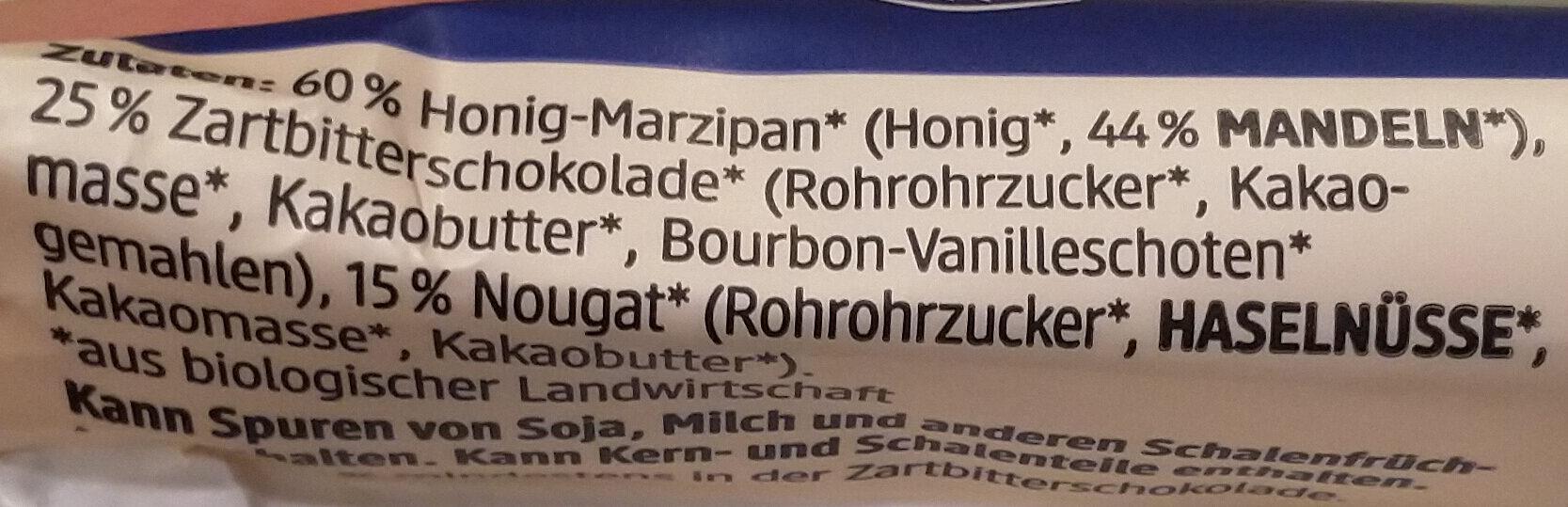 Marzipan Nougat Riegel Zartbitter - Ingredienti - en