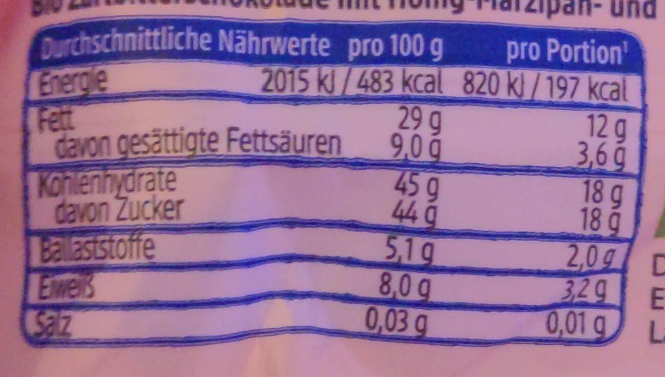 Marzipan Nougat Riegel Zartbitter - Valori nutrizionali - en