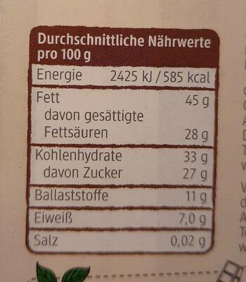 Feine Bitter Schokokade - Nährwertangaben - de