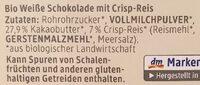 Weisse Schokolade mit Crisp - Ingrédients - de