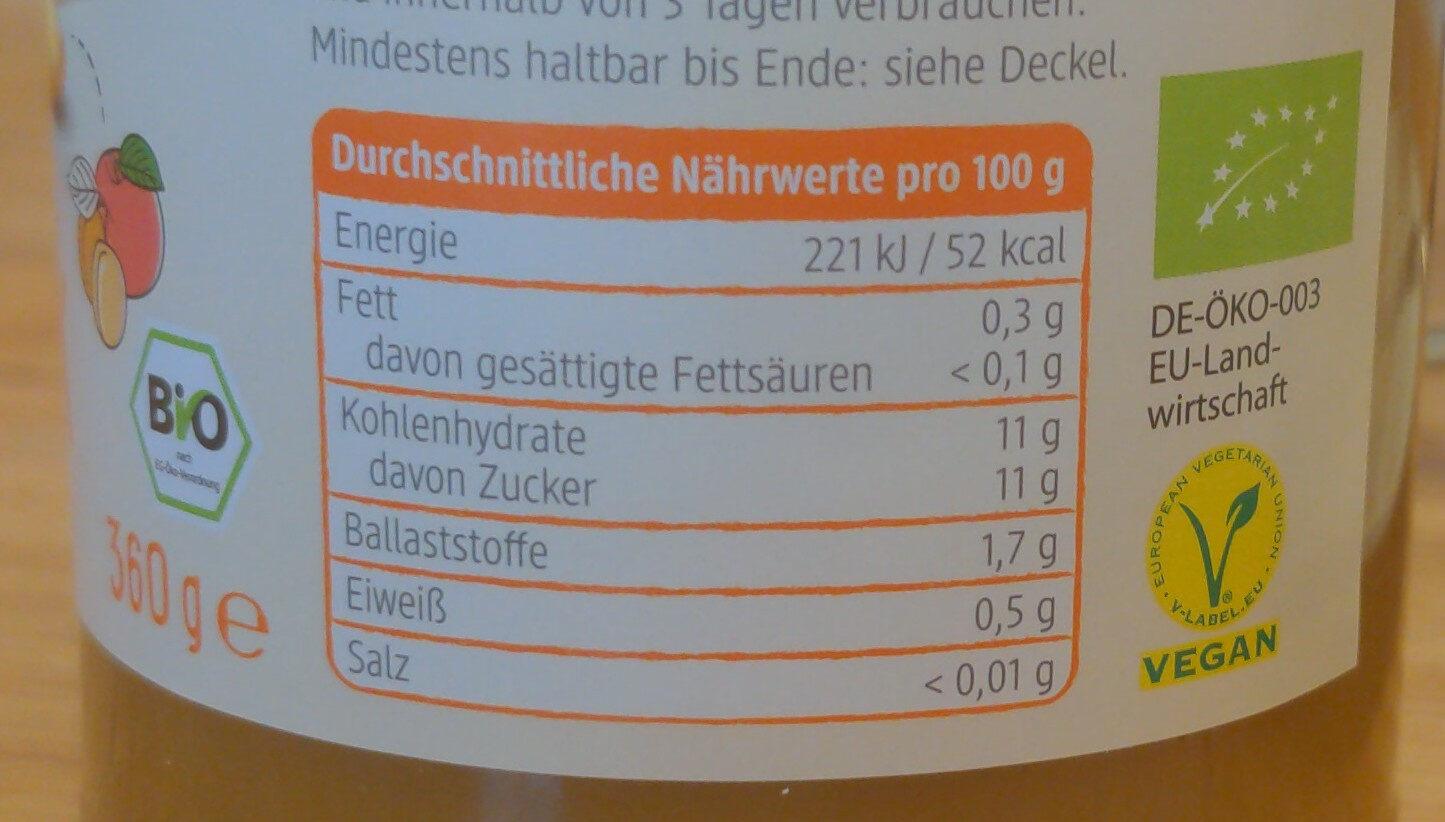 Apfelmark mit Aprikose - Valori nutrizionali - de
