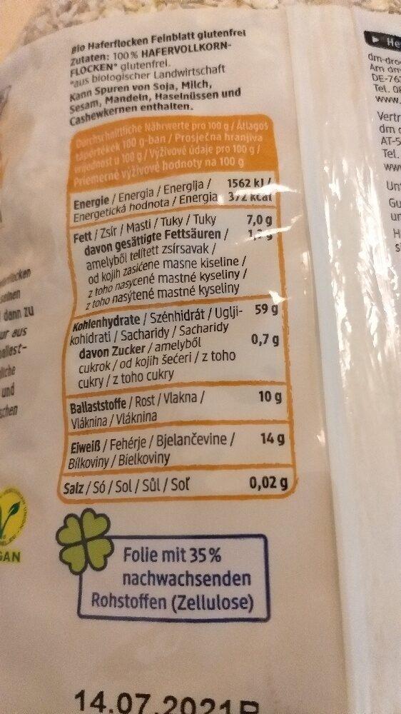 Haferflocken Glutenfrei Feinblatt - Zutaten - de