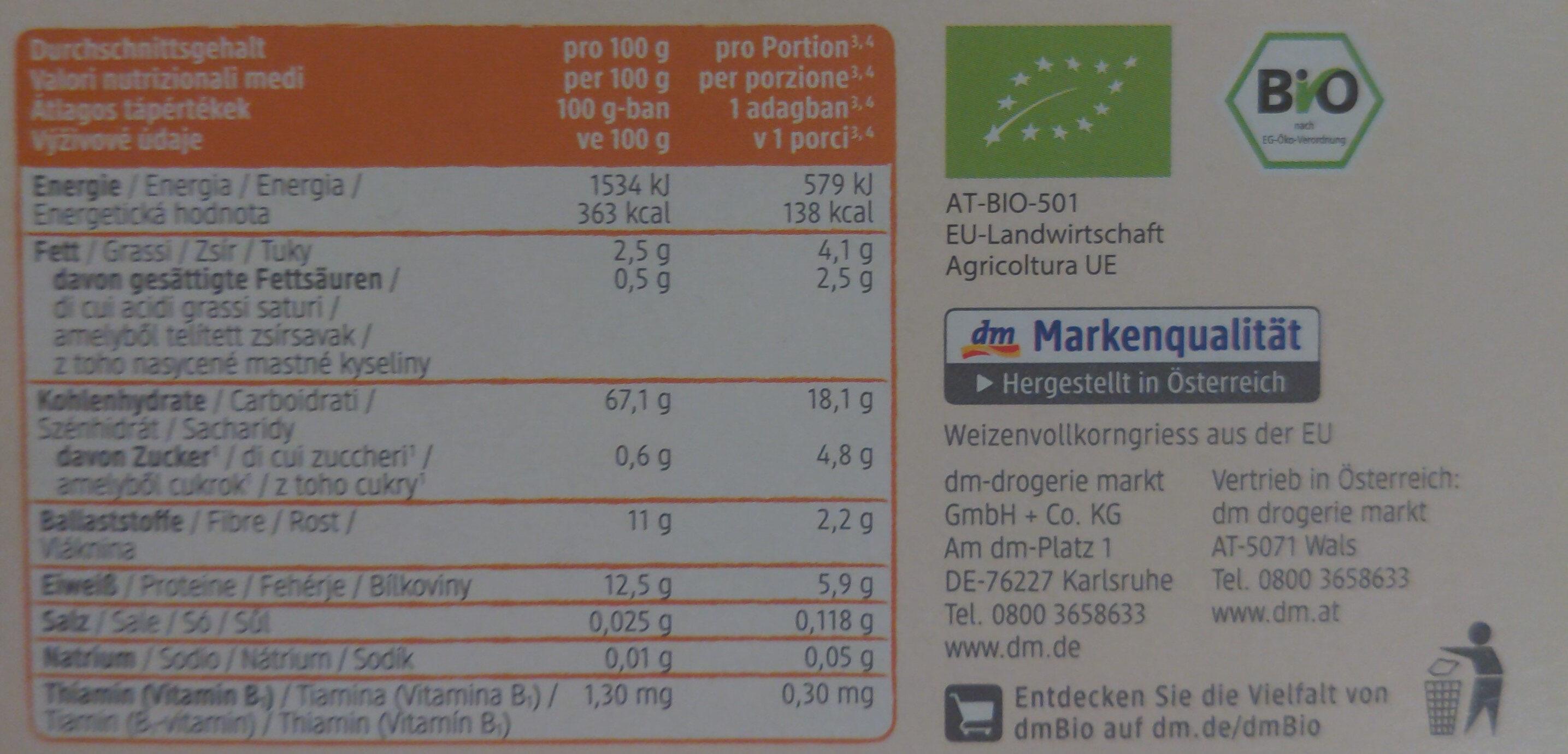 Grieß Getreidebrei - Nährwertangaben - de
