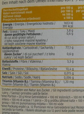 Hirse Getreide rein Milet - Nutrition facts - de