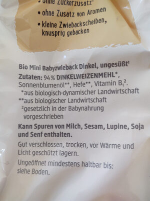 Mini Dinkel Zwieback - Ingrédients - de