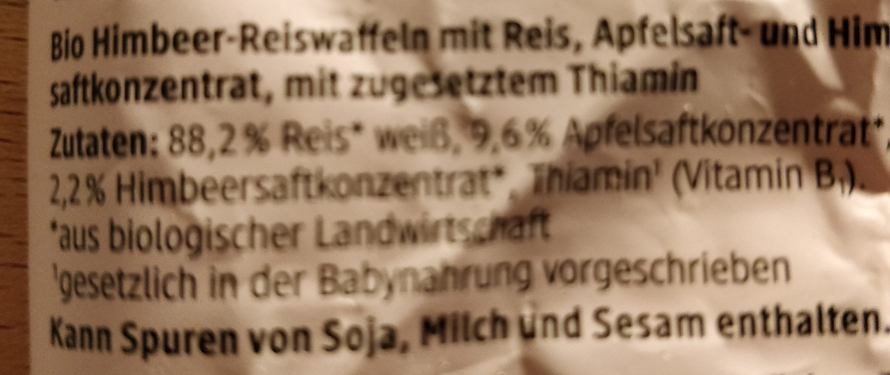 Himbeer Reiswaffeln - Ingredients - de