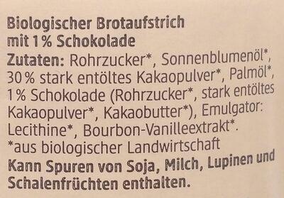 Schokocreme Zartbitter - Ingredients - de