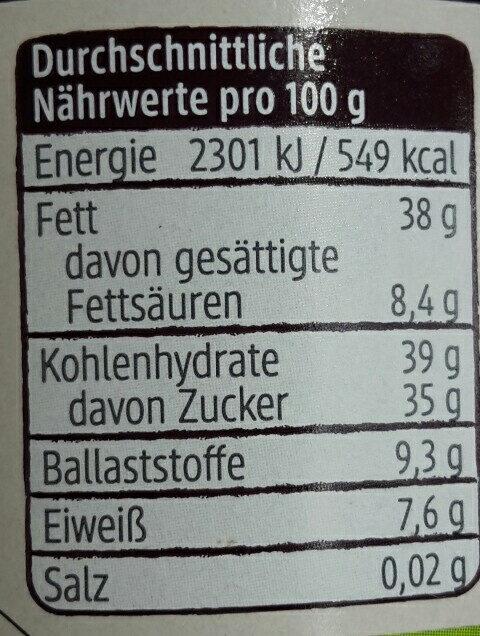 Schokocreme Zartbitter - Nutrition facts - de
