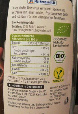 Reissirup DM Bio - Nutrition facts - de