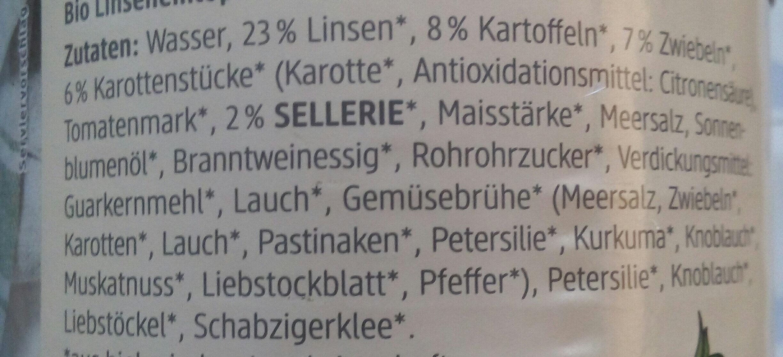 Linseneintopf mit Kartoffeln - Ingrédients - de
