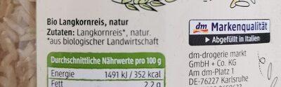 Langkornreis natur - Ingredienti - de