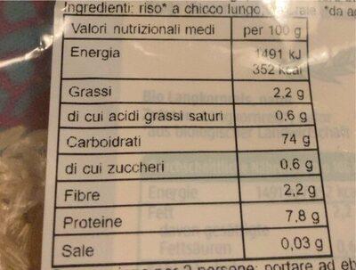 Langkornreis natur - Valori nutrizionali - de