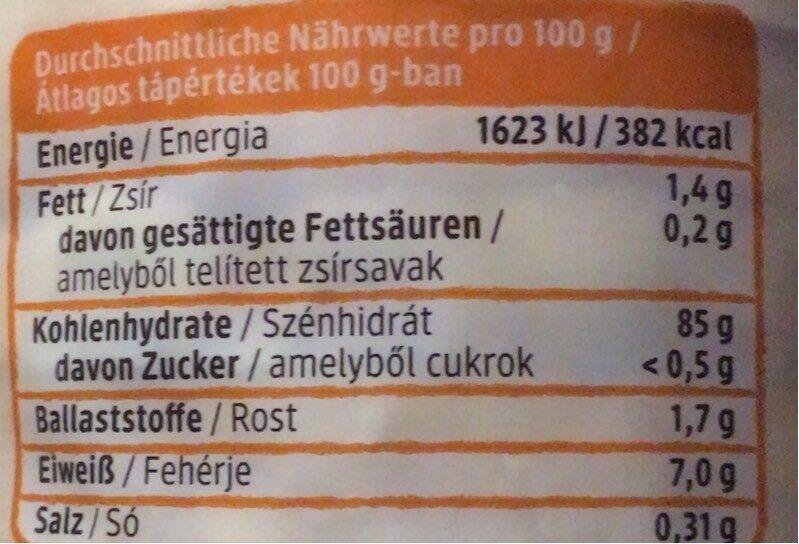 Mais waffeln - Valori nutrizionali - de