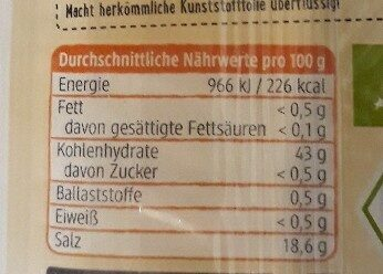 Backpulver - Nutrition facts - de