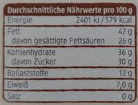 Kuvertüre-Chips - Nährwertangaben - de