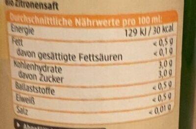 Zitronensaft - Nährwertangaben - en