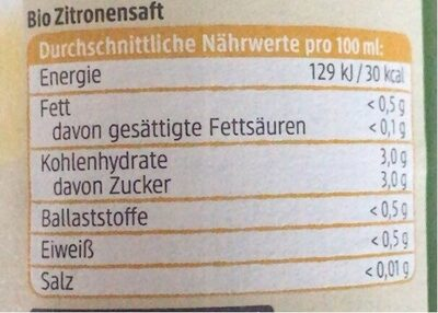 Zitronen saft - Nährwertangaben - en
