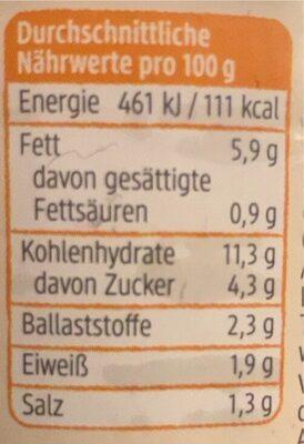 Gemüseaufstrich süsskartoffel - Nährwertangaben - de