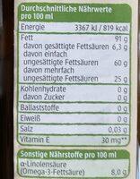 Raps Öl - Informations nutritionnelles - de