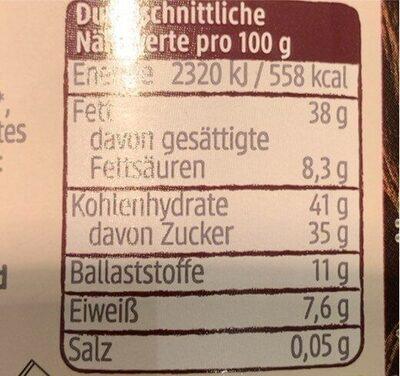 Schokocreme Zartbitter - Valori nutrizionali - de
