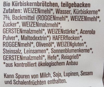Slooow Bio Kürbiskernbrötchen - Ingredients - de