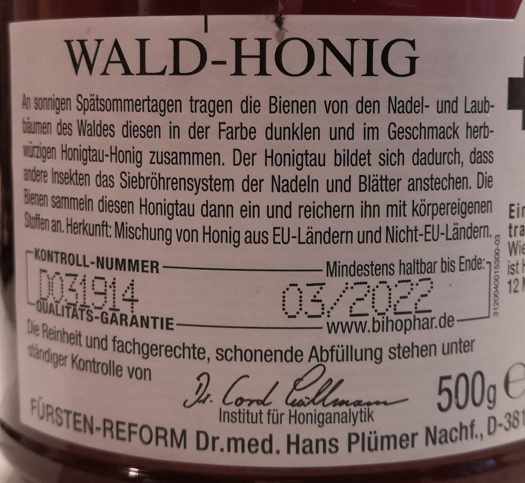 Bihophar Wald-Honig Naturkost - Ingrediënten - de