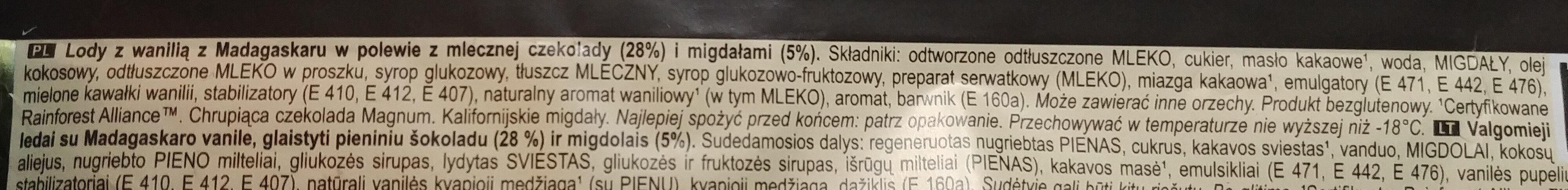 Lody z wanilią z Madagaskaru w polewie z mlecznej czekoladzie 28% i migdałami 5% - Ingredients - pl