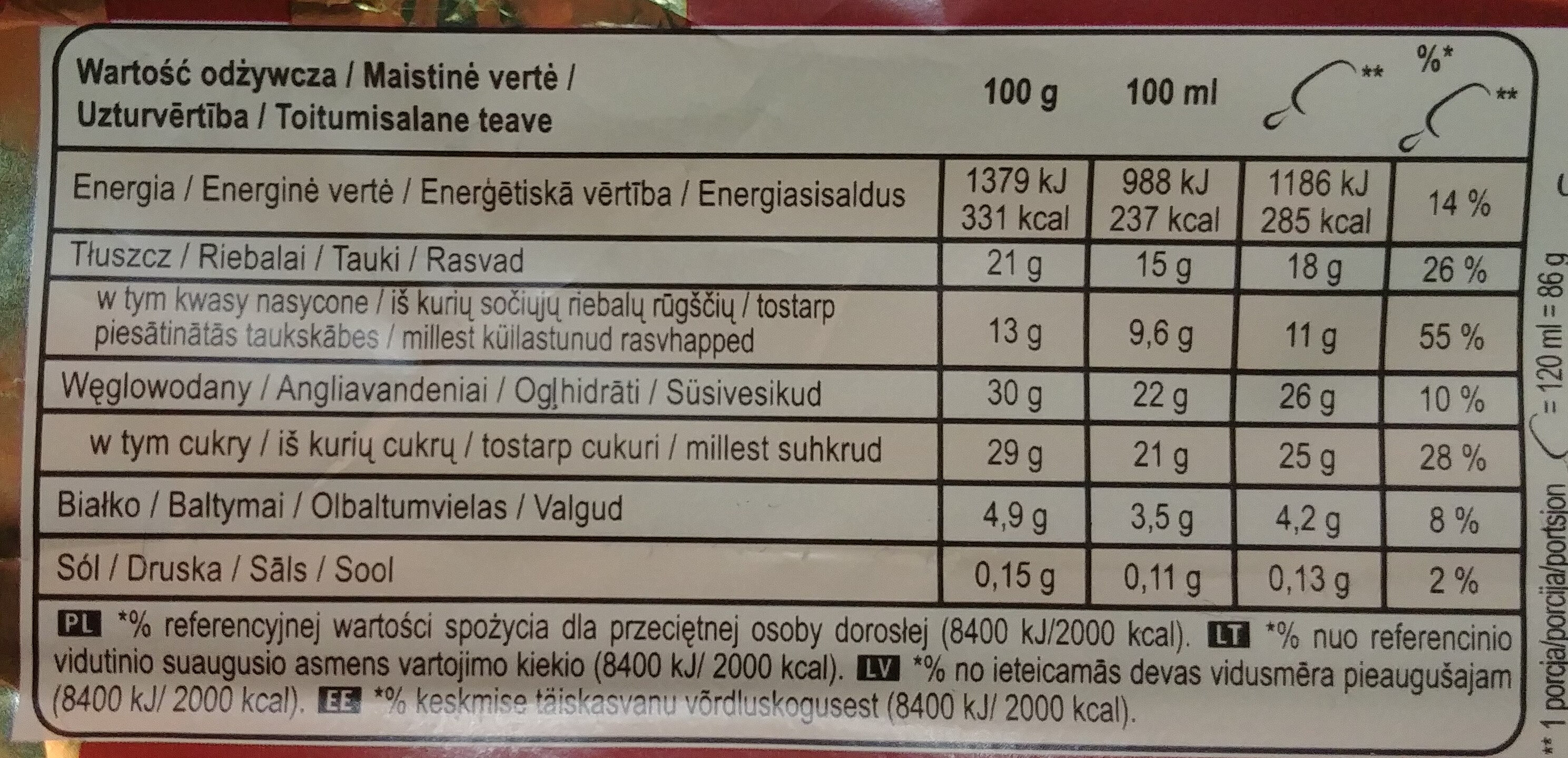 Lody z wanilią z Madagaskaru w polewie z mlecznej czekoladzie 28% i migdałami 5% - Wartości odżywcze