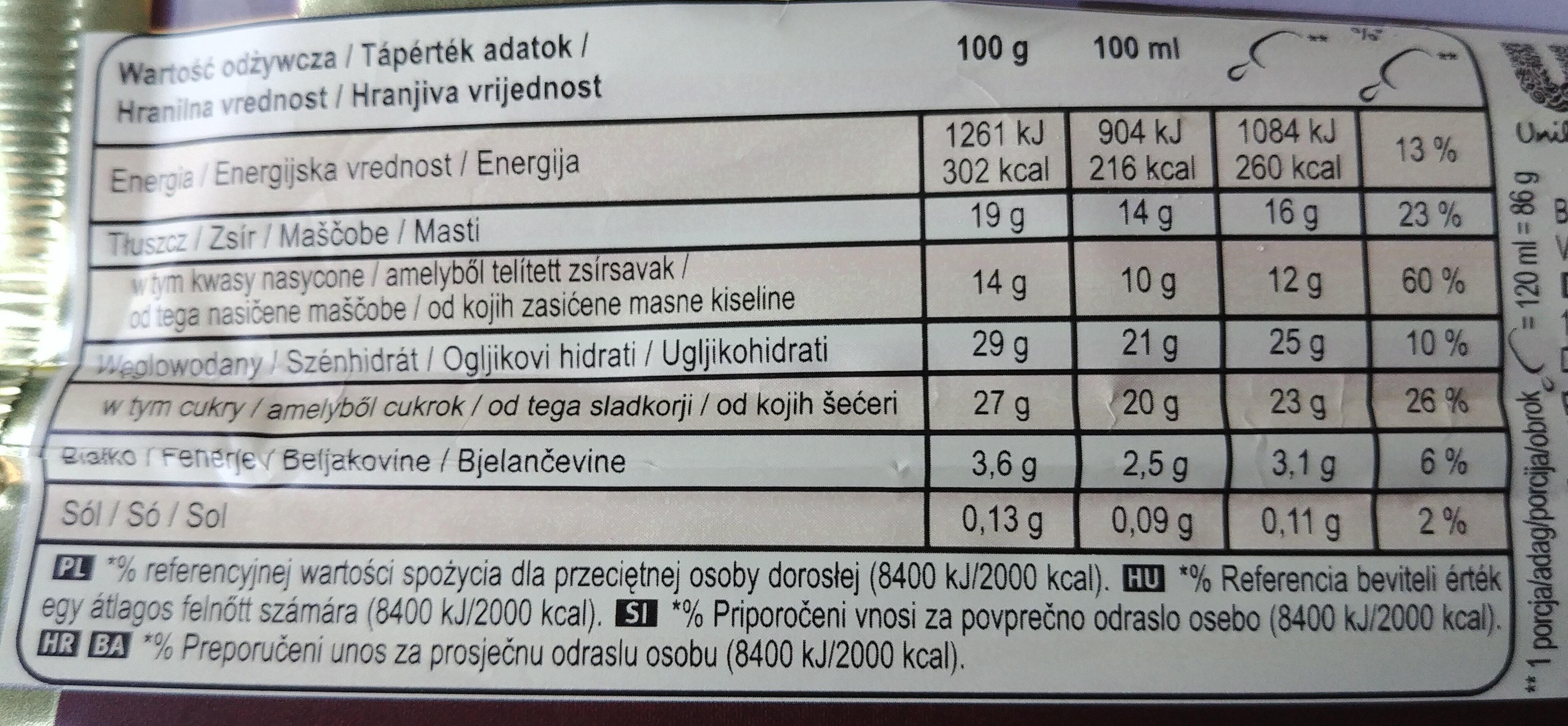 Magnum classique - Nutrition facts - pl