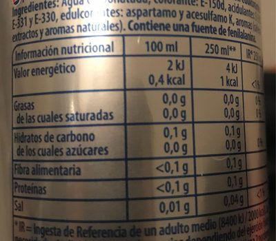 Pepsi light - Informations nutritionnelles