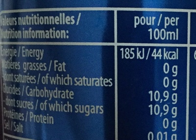 Soda - Nutrition facts