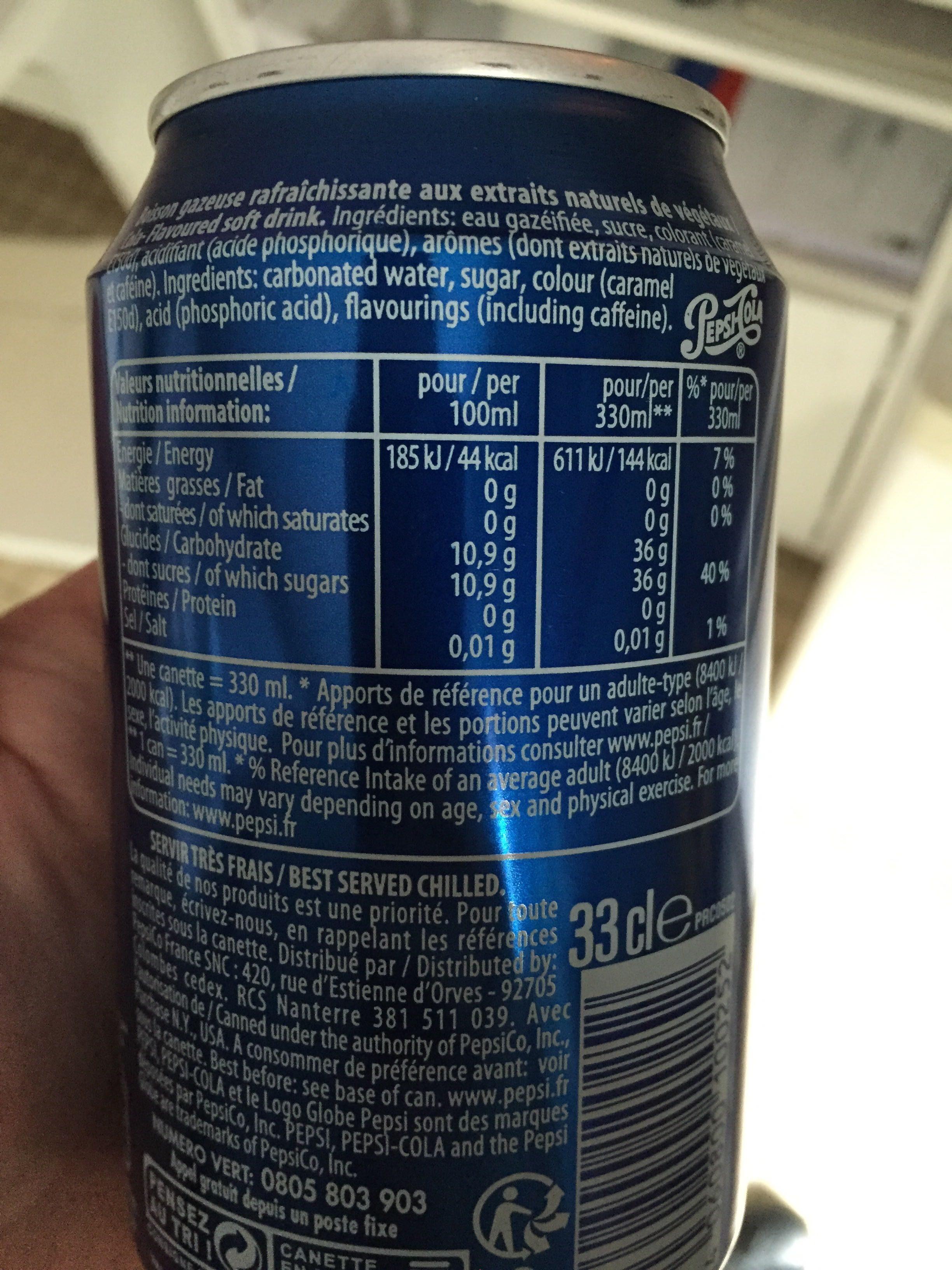 Pepsi - Informazioni nutrizionali - fr