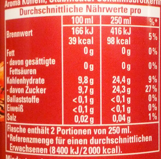 Schwip Schwap Cola + Orange - Nutrition facts