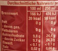 Schwip Schwap, Cola + Orange - Nährwertangaben