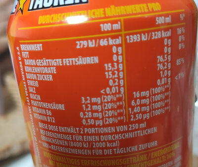 Rockstar Juiced Energy + Juice 500ML Dose - Nährwertangaben - de