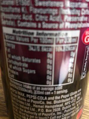 Pepsi max cherry - Valori nutrizionali - en